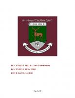 Tempo Maguires GAC Club Constitution