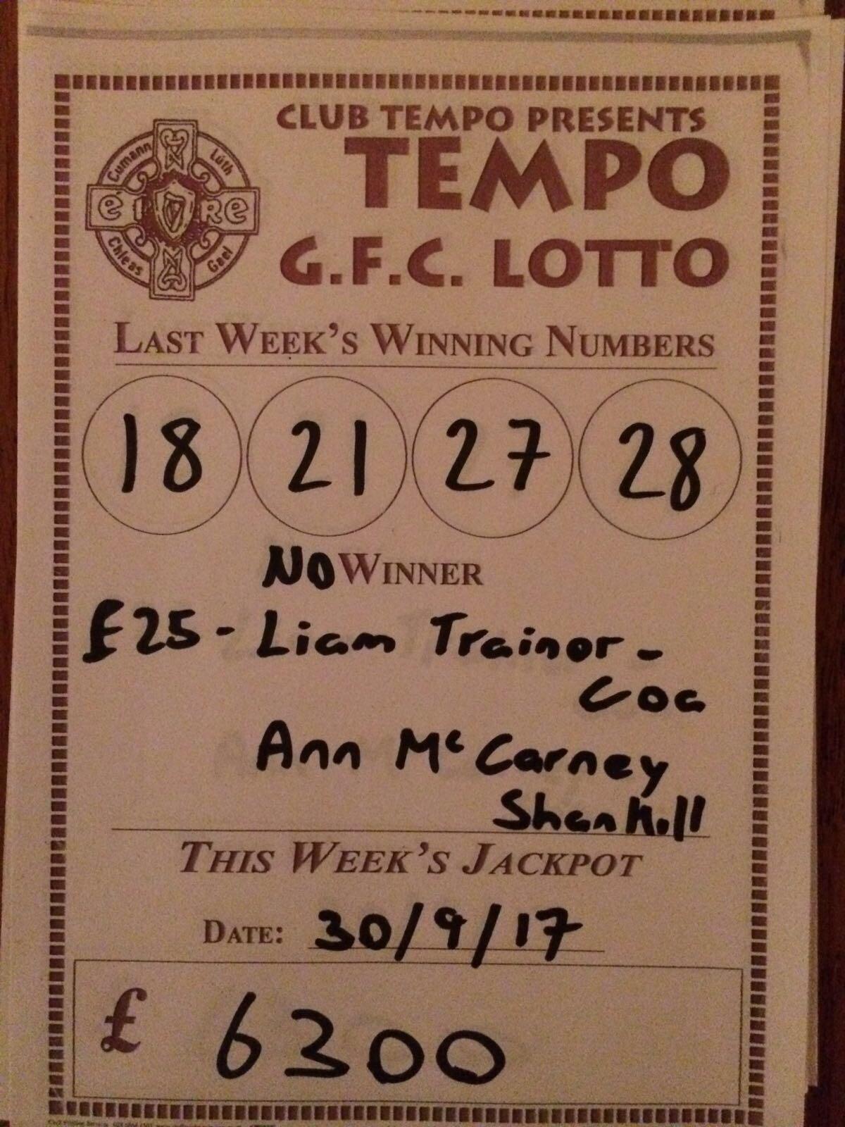 Lotto Results 23 09 17 – CLG An t-Iompú Mag Uidhir